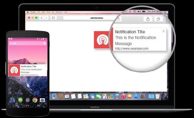 Sample push notification on desktop browser